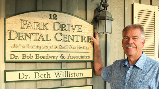 Dr. Bob with Park Drive Dental Sign